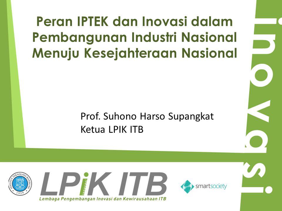 Peran IPTEK dan Inovasi dalam Pembangunan Industri Nasional Menuju Kesejahteraan Nasional Prof. Suhono Harso Supangkat Ketua LPIK ITB