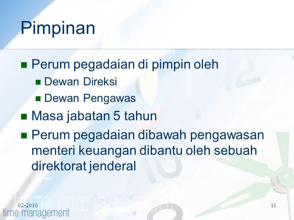 02-201011 Pimpinan Perum pegadaian di pimpin oleh Dewan Direksi Dewan Pengawas Masa jabatan 5 tahun Perum pegadaian dibawah pengawasan menteri keuanga