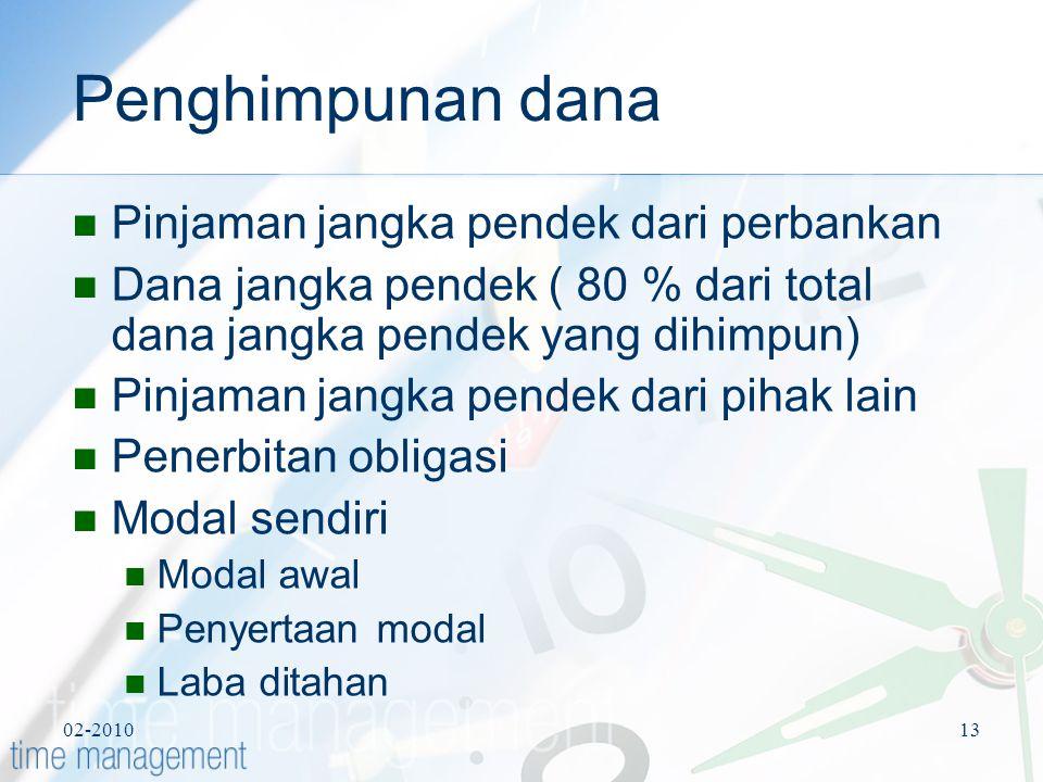 02-201013 Penghimpunan dana Pinjaman jangka pendek dari perbankan Dana jangka pendek ( 80 % dari total dana jangka pendek yang dihimpun) Pinjaman jang