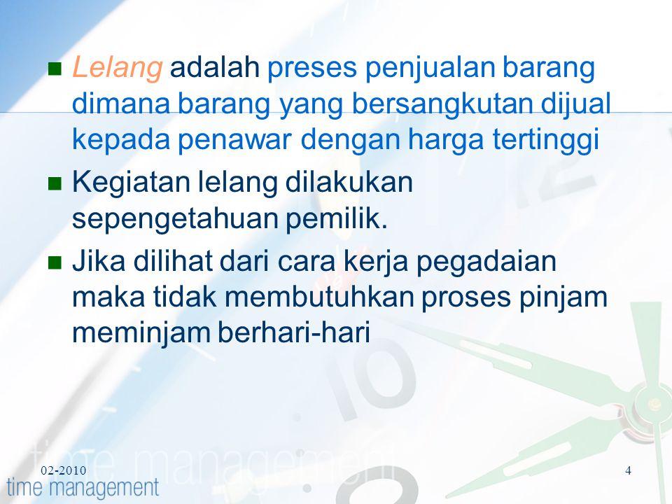 02-20104 Lelang adalah preses penjualan barang dimana barang yang bersangkutan dijual kepada penawar dengan harga tertinggi Kegiatan lelang dilakukan