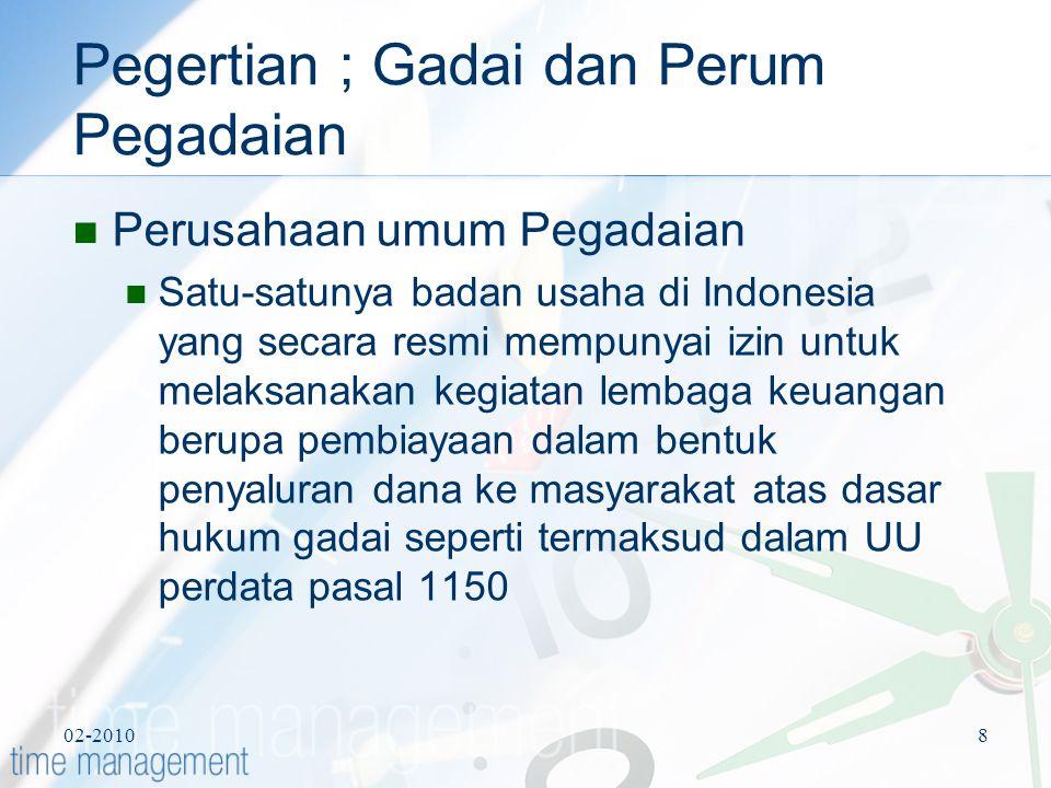 02-20108 Pegertian ; Gadai dan Perum Pegadaian Perusahaan umum Pegadaian Satu-satunya badan usaha di Indonesia yang secara resmi mempunyai izin untuk