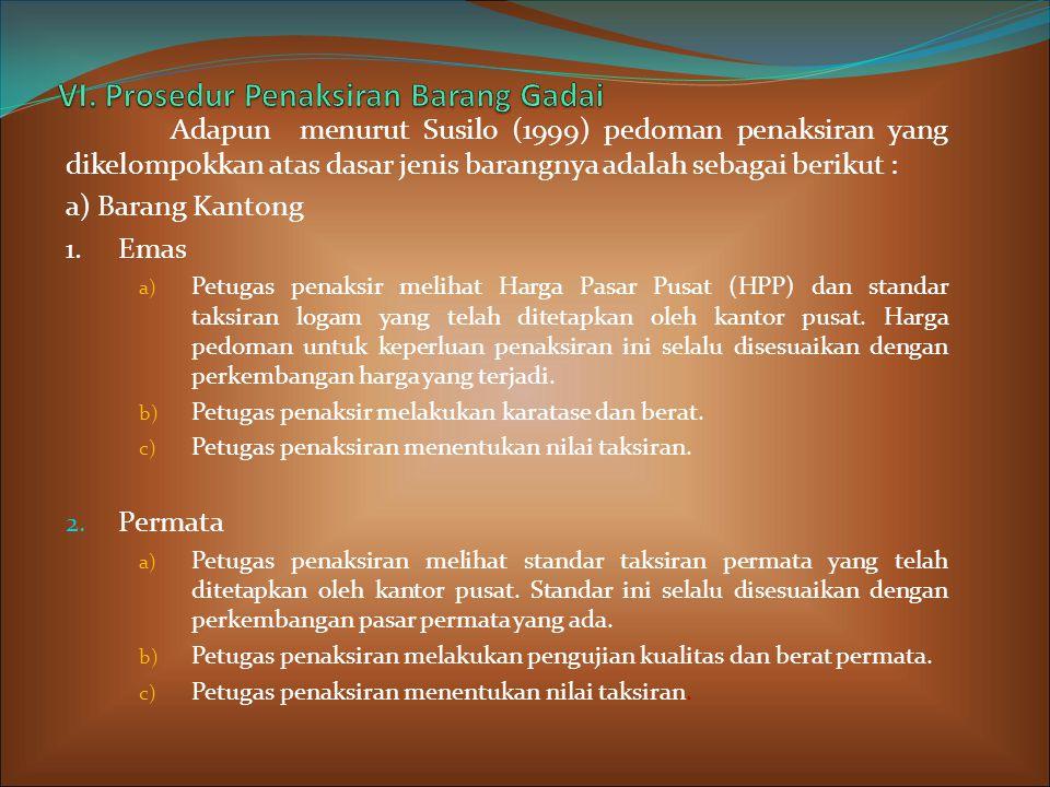 Adapun menurut Susilo (1999) pedoman penaksiran yang dikelompokkan atas dasar jenis barangnya adalah sebagai berikut : a) Barang Kantong 1.Emas a) Petugas penaksir melihat Harga Pasar Pusat (HPP) dan standar taksiran logam yang telah ditetapkan oleh kantor pusat.