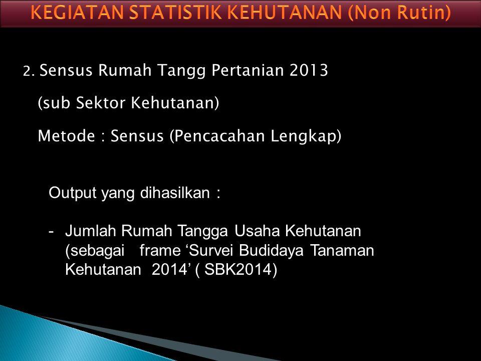 1. Survei Kehutanan Rakyat Tahun 2010 (SKR 2010) Metode : Sampel Output yang dihasilkan : -Luas lahan -Perladangan berpindah -Kondisi perumahan -Kondi