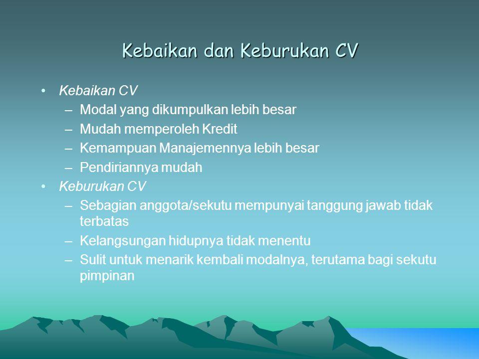 Kebaikan dan Keburukan CV Kebaikan CV –Modal yang dikumpulkan lebih besar –Mudah memperoleh Kredit –Kemampuan Manajemennya lebih besar –Pendiriannya m