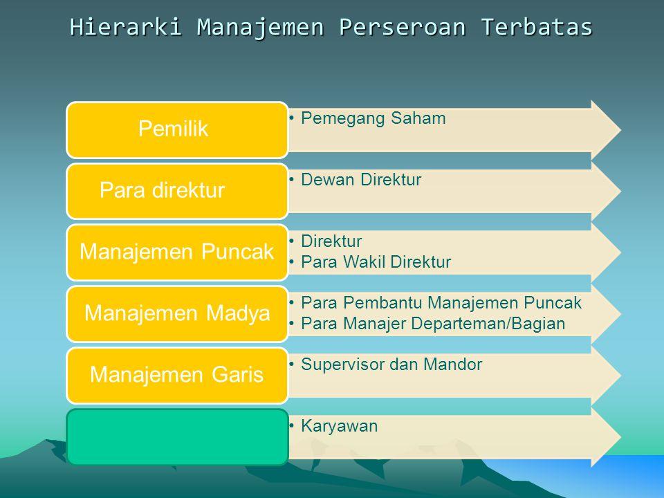 Hierarki Manajemen Perseroan Terbatas Pemegang Saham Pemilik Dewan Direktur Para direktur Direktur Para Wakil Direktur Manajemen Puncak Para Pembantu