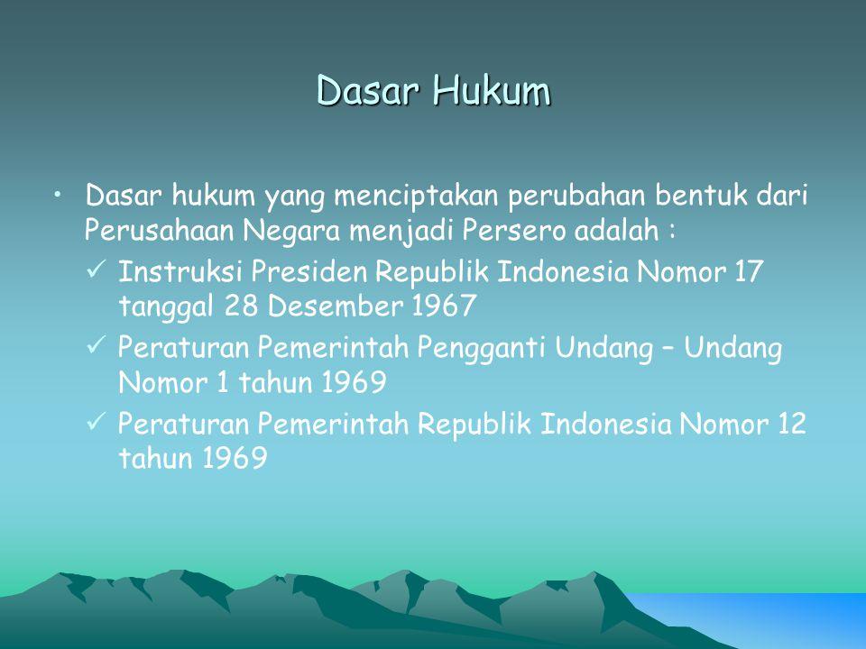 Dasar Hukum Dasar hukum yang menciptakan perubahan bentuk dari Perusahaan Negara menjadi Persero adalah : Instruksi Presiden Republik Indonesia Nomor