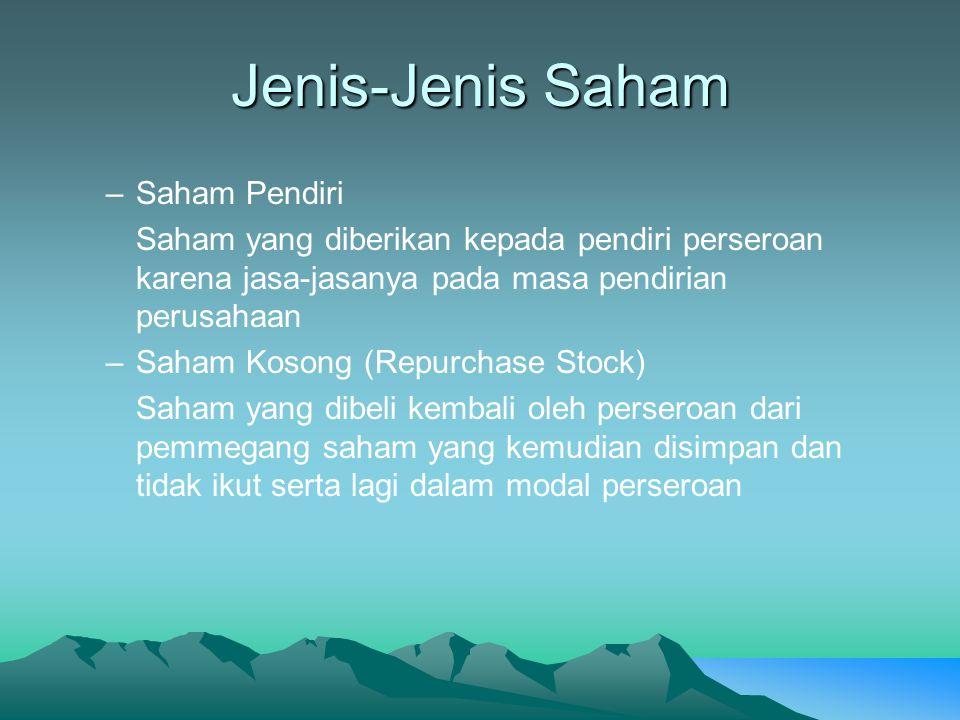 Jenis-Jenis Saham –Saham Pendiri Saham yang diberikan kepada pendiri perseroan karena jasa-jasanya pada masa pendirian perusahaan –Saham Kosong (Repur