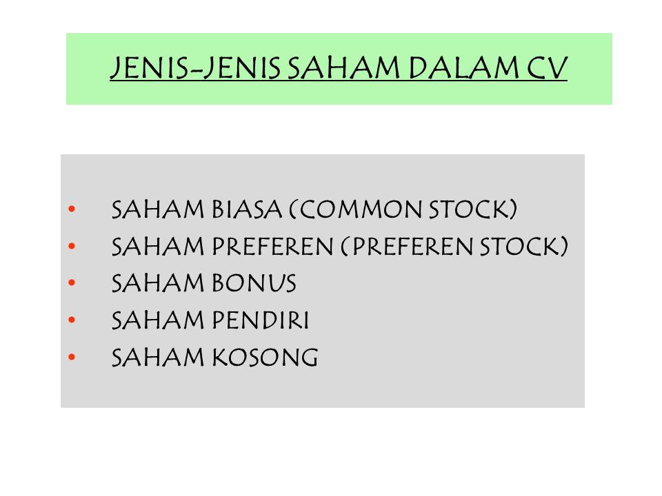 JENIS-JENIS SAHAM DALAM CV SAHAM BIASA (COMMON STOCK) SAHAM PREFEREN (PREFEREN STOCK) SAHAM BONUS SAHAM PENDIRI SAHAM KOSONG