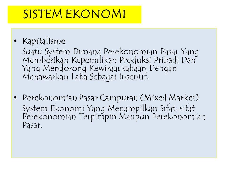 SISTEM EKONOMI Kapitalisme Suatu System Dimana Perekonomian Pasar Yang Memberikan Kepemilikan Produksi Pribadi Dan Yang Mendorong Kewiraausahaan Denga