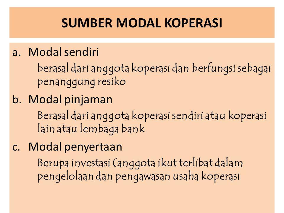 SUMBER MODAL KOPERASI a. Modal sendiri berasal dari anggota koperasi dan berfungsi sebagai penanggung resiko b. Modal pinjaman Berasal dari anggota ko