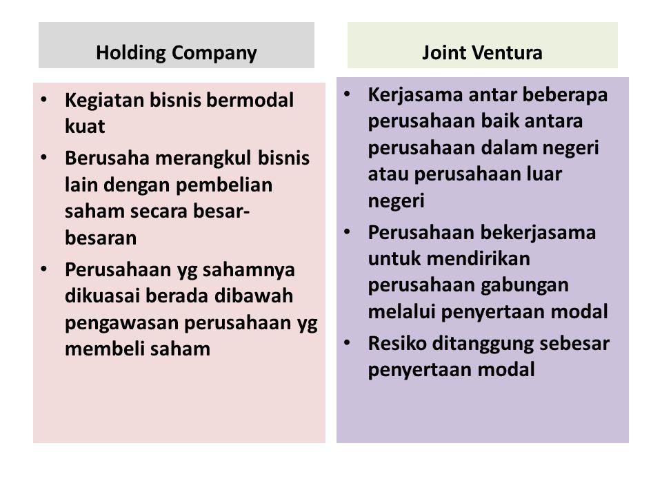 Holding Company Kegiatan bisnis bermodal kuat Berusaha merangkul bisnis lain dengan pembelian saham secara besar- besaran Perusahaan yg sahamnya dikua