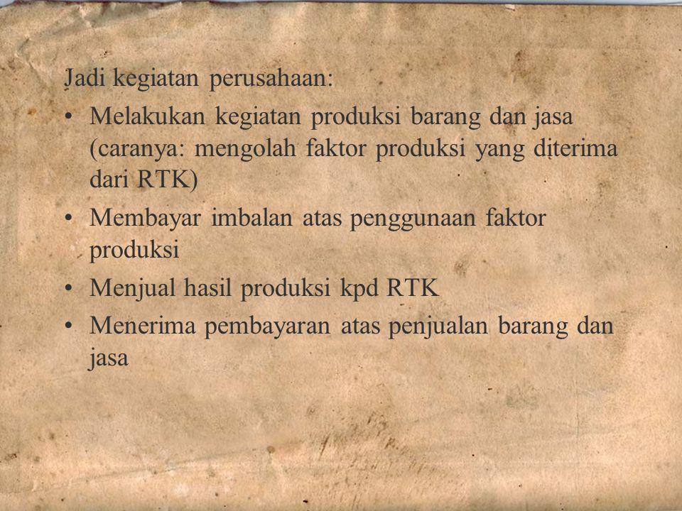 Jadi kegiatan perusahaan: Melakukan kegiatan produksi barang dan jasa (caranya: mengolah faktor produksi yang diterima dari RTK) Membayar imbalan atas penggunaan faktor produksi Menjual hasil produksi kpd RTK Menerima pembayaran atas penjualan barang dan jasa
