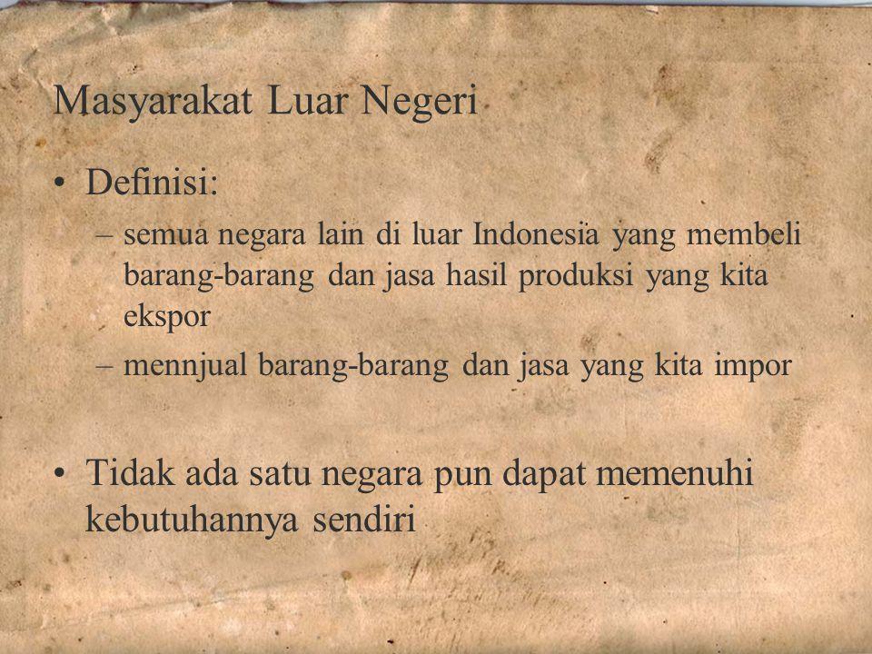 Masyarakat Luar Negeri Definisi: –semua negara lain di luar Indonesia yang membeli barang-barang dan jasa hasil produksi yang kita ekspor –mennjual barang-barang dan jasa yang kita impor Tidak ada satu negara pun dapat memenuhi kebutuhannya sendiri