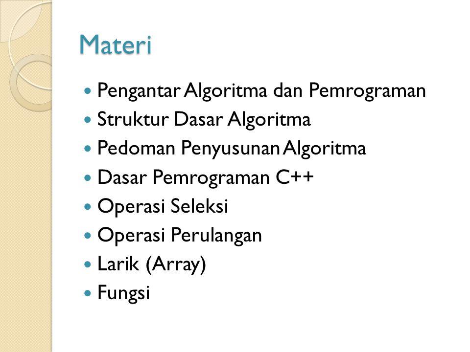 Materi Pengantar Algoritma dan Pemrograman Struktur Dasar Algoritma Pedoman Penyusunan Algoritma Dasar Pemrograman C++ Operasi Seleksi Operasi Perulangan Larik (Array) Fungsi
