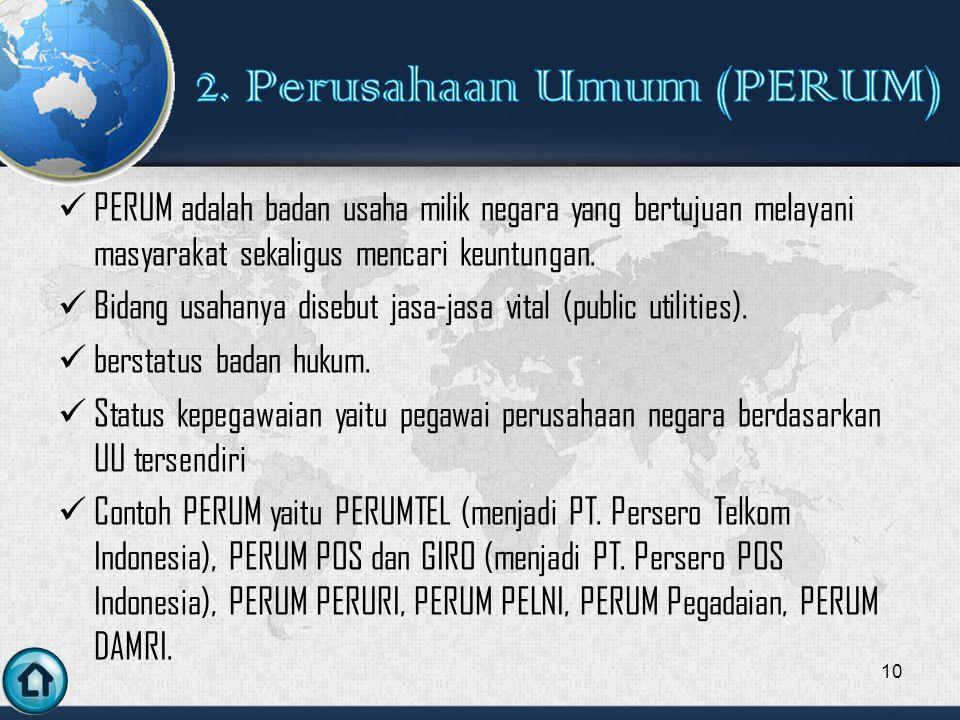 PERUM adalah badan usaha milik negara yang bertujuan melayani masyarakat sekaligus mencari keuntungan.
