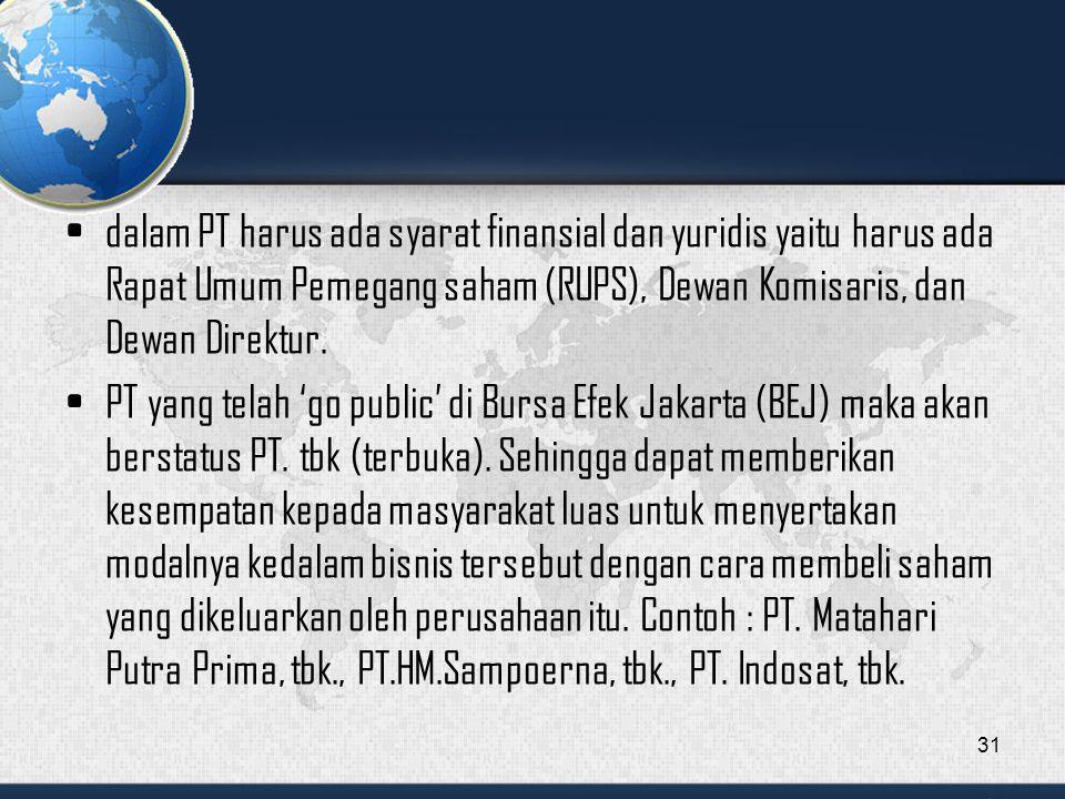 dalam PT harus ada syarat finansial dan yuridis yaitu harus ada Rapat Umum Pemegang saham (RUPS), Dewan Komisaris, dan Dewan Direktur.