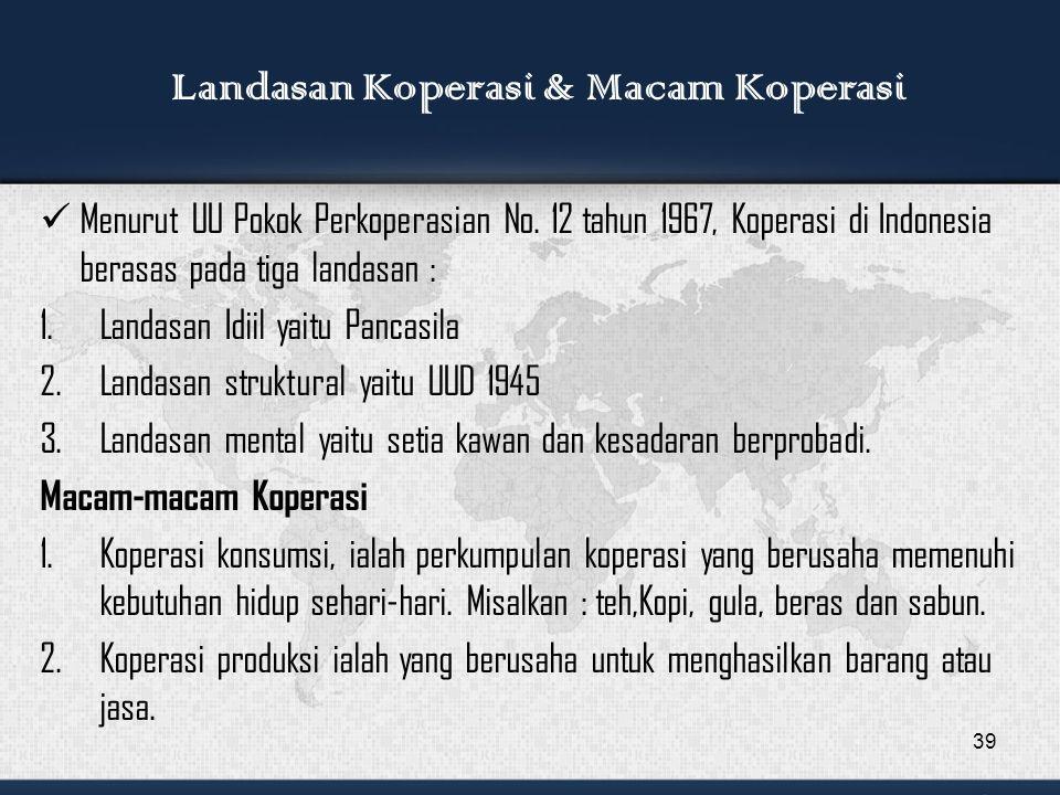 Menurut UU Pokok Perkoperasian No.