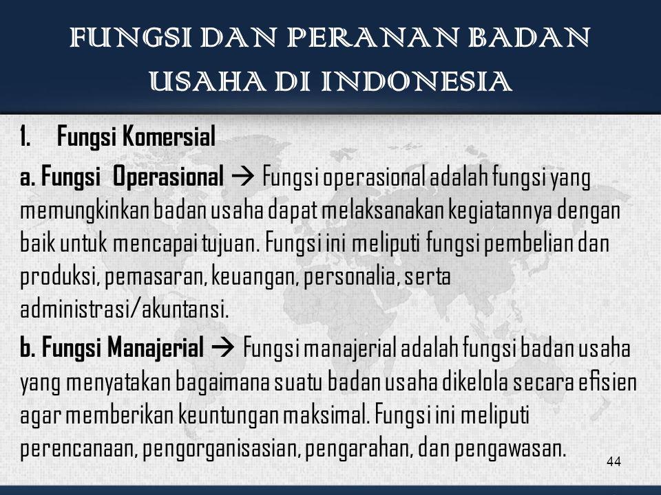 FUNGSI DAN PERANAN BADAN USAHA DI INDONESIA 1.Fungsi Komersial a.