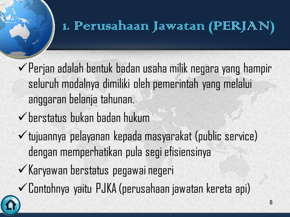 Perjan adalah bentuk badan usaha milik negara yang hampir seluruh modalnya dimiliki oleh pemerintah yang melalui anggaran belanja tahunan.