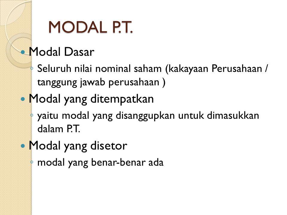 MODAL P.T. Modal Dasar ◦ Seluruh nilai nominal saham (kakayaan Perusahaan / tanggung jawab perusahaan ) Modal yang ditempatkan ◦ yaitu modal yang disa