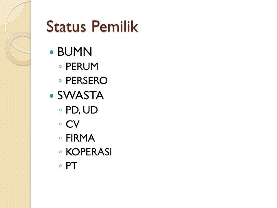 Status Pemilik BUMN ◦ PERUM ◦ PERSERO SWASTA ◦ PD, UD ◦ CV ◦ FIRMA ◦ KOPERASI ◦ PT
