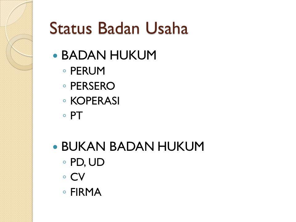 Status Badan Usaha BADAN HUKUM ◦ PERUM ◦ PERSERO ◦ KOPERASI ◦ PT BUKAN BADAN HUKUM ◦ PD, UD ◦ CV ◦ FIRMA