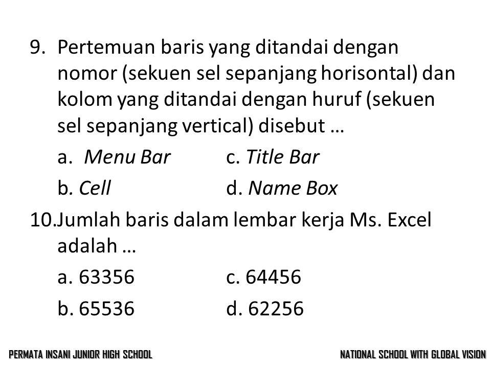8.Gambar disamping adalah … a. Menu Barc. Title Bar b.Toolbard. Name Box 9.Pertemuan baris yang ditandai dengan nomor (sekuen sel sepanjang horisontal