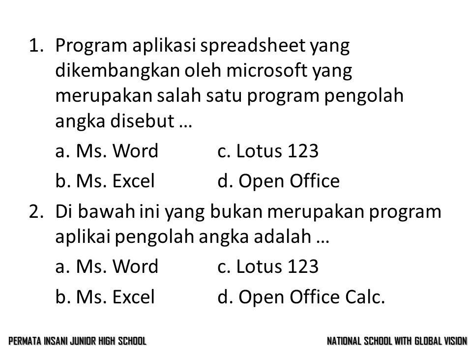 1.Program aplikasi spreadsheet yang dikembangkan oleh microsoft yang merupakan salah satu program pengolah angka disebut … a.