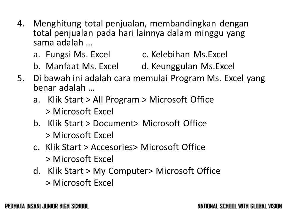 3.Dengan menggunakan Ms. Excel, kita dapat menghemat waktu untuk menghitung, memproyeksikan, menganalisa, dan mempresentasikan data adalah …. a.Fungsi