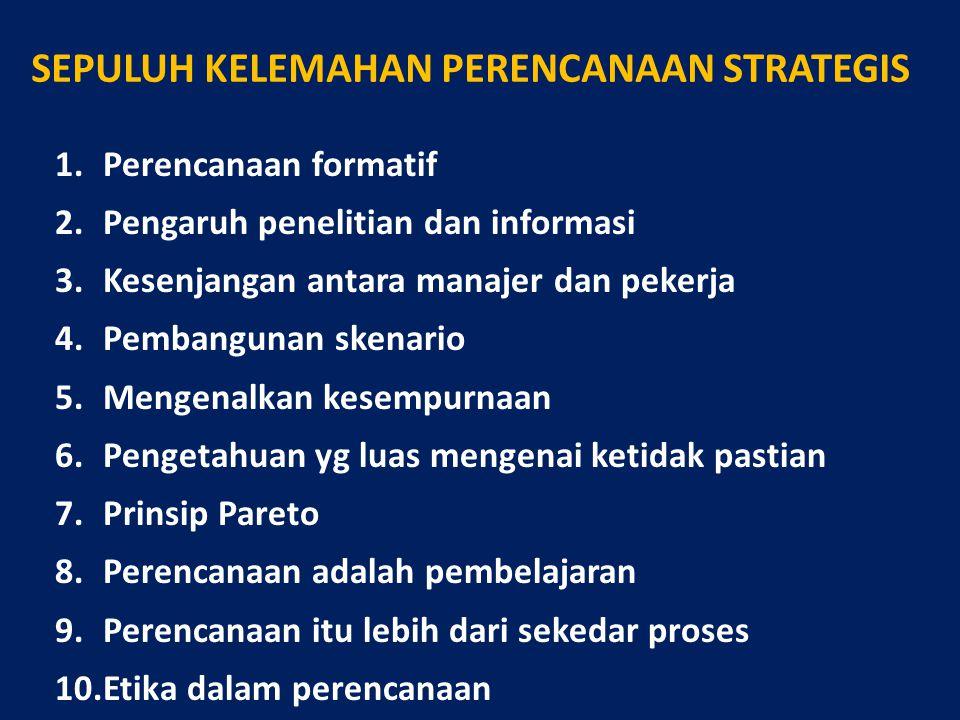 SEPULUH KELEMAHAN PERENCANAAN STRATEGIS 1.Perencanaan formatif 2.Pengaruh penelitian dan informasi 3.Kesenjangan antara manajer dan pekerja 4.Pembangu