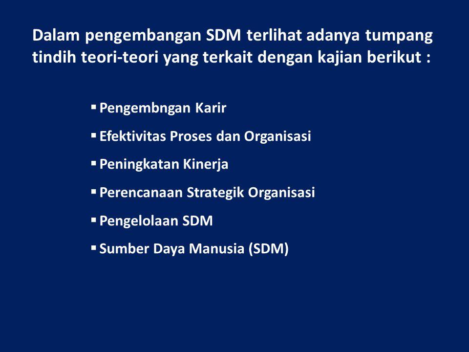Dalam pengembangan SDM terlihat adanya tumpang tindih teori-teori yang terkait dengan kajian berikut :  Pengembngan Karir  Efektivitas Proses dan Or