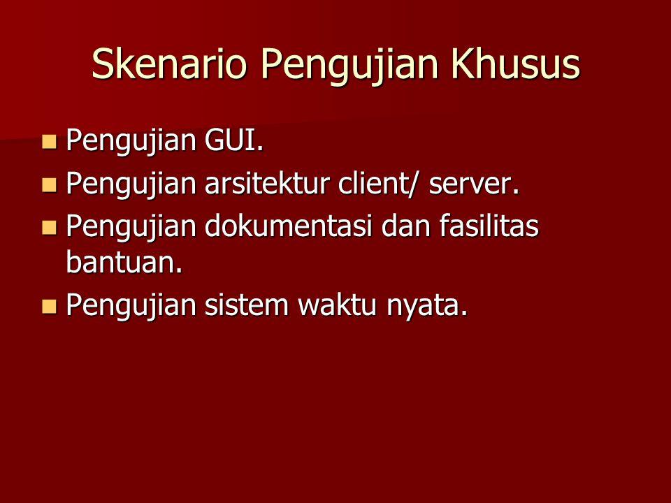 Skenario Pengujian Khusus Pengujian GUI. Pengujian GUI. Pengujian arsitektur client/ server. Pengujian arsitektur client/ server. Pengujian dokumentas