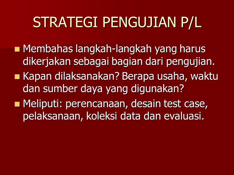 STRATEGI PENGUJIAN P/L Membahas langkah-langkah yang harus dikerjakan sebagai bagian dari pengujian. Membahas langkah-langkah yang harus dikerjakan se