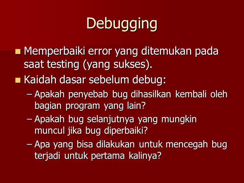 Debugging Memperbaiki error yang ditemukan pada saat testing (yang sukses). Memperbaiki error yang ditemukan pada saat testing (yang sukses). Kaidah d