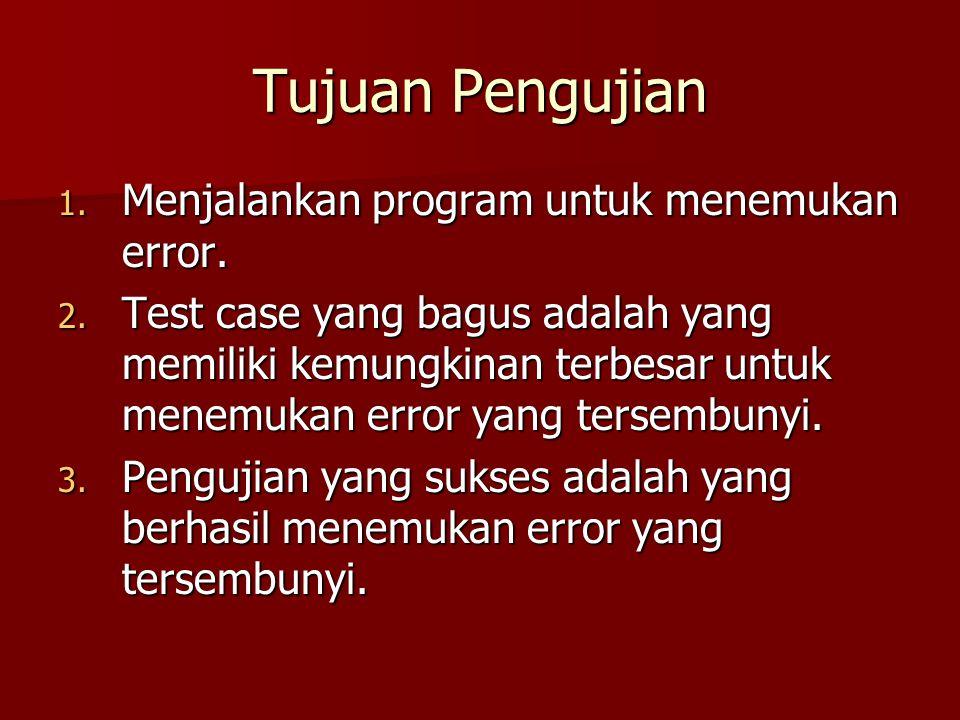 Tujuan Pengujian 1. Menjalankan program untuk menemukan error. 2. Test case yang bagus adalah yang memiliki kemungkinan terbesar untuk menemukan error