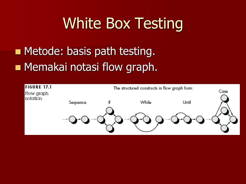 White Box Testing Metode: basis path testing. Metode: basis path testing. Memakai notasi flow graph. Memakai notasi flow graph.