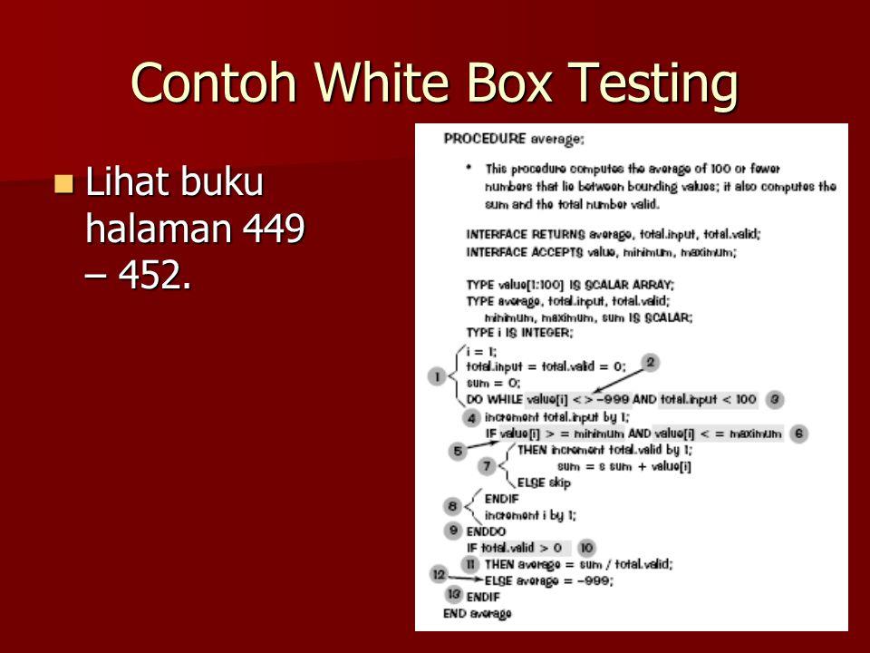 Contoh White Box Testing Lihat buku halaman 449 – 452. Lihat buku halaman 449 – 452.