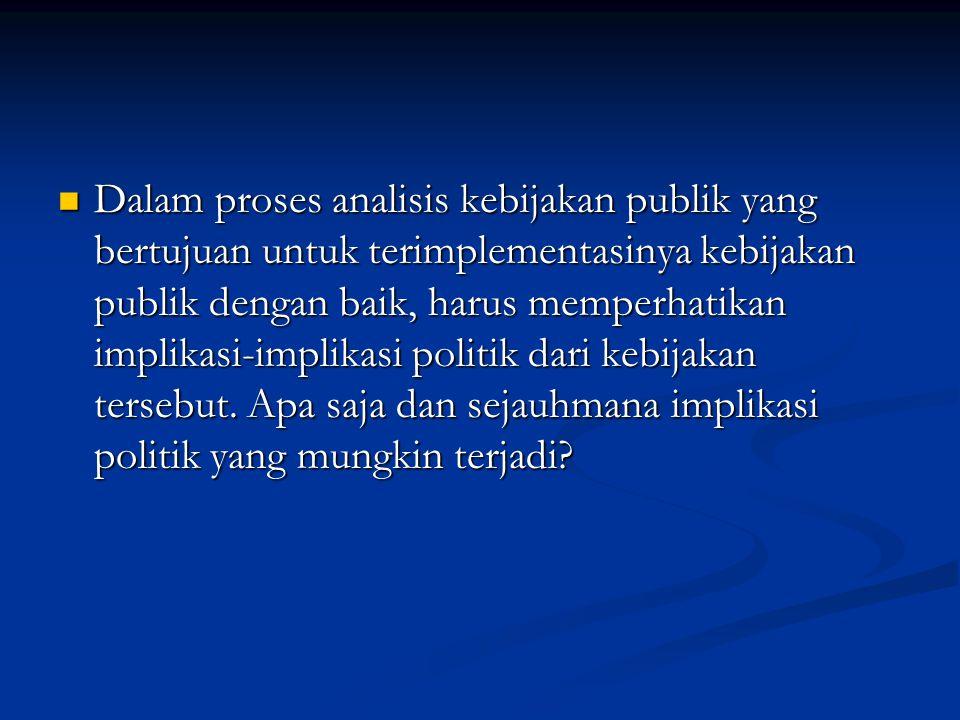 Dalam proses analisis kebijakan publik yang bertujuan untuk terimplementasinya kebijakan publik dengan baik, harus memperhatikan implikasi-implikasi p