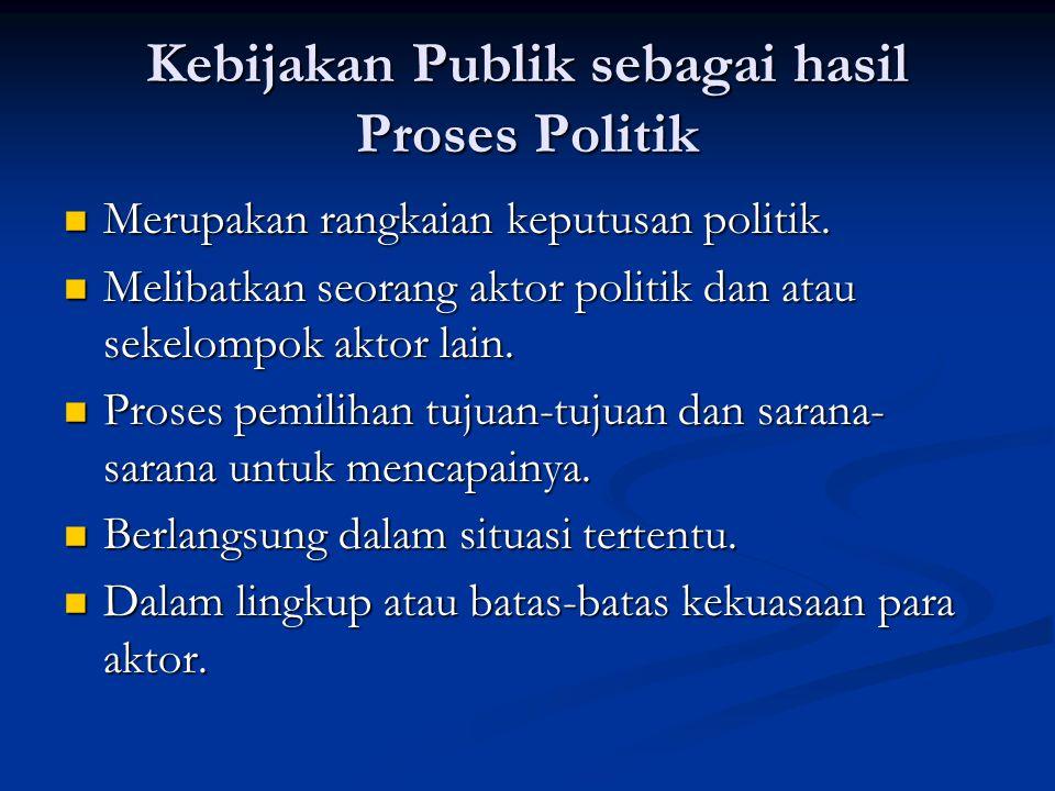 Kebijakan Publik sebagai hasil Proses Politik Merupakan rangkaian keputusan politik. Merupakan rangkaian keputusan politik. Melibatkan seorang aktor p