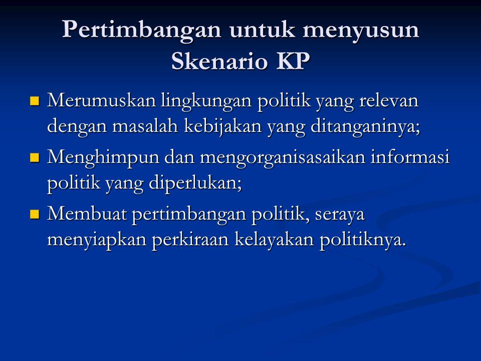 Pertimbangan untuk menyusun Skenario KP Merumuskan lingkungan politik yang relevan dengan masalah kebijakan yang ditanganinya; Merumuskan lingkungan p