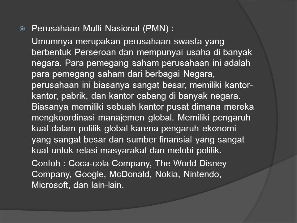  Perusahaan Multi Nasional (PMN) : Umumnya merupakan perusahaan swasta yang berbentuk Perseroan dan mempunyai usaha di banyak negara.