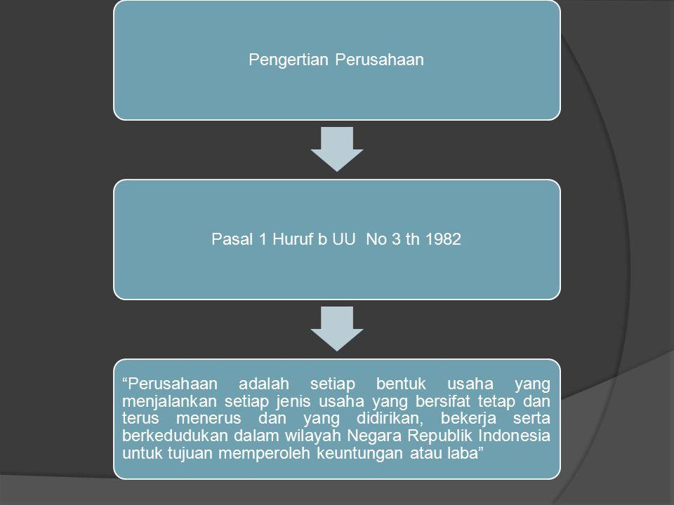 Pengertian PerusahaanPasal 1 Huruf b UU No 3 th 1982 Perusahaan adalah setiap bentuk usaha yang menjalankan setiap jenis usaha yang bersifat tetap dan terus menerus dan yang didirikan, bekerja serta berkedudukan dalam wilayah Negara Republik Indonesia untuk tujuan memperoleh keuntungan atau laba