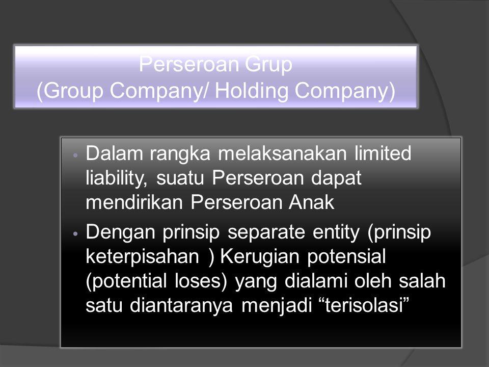 Perseroan Grup (Group Company/ Holding Company) Dalam rangka melaksanakan limited liability, suatu Perseroan dapat mendirikan Perseroan Anak Dengan prinsip separate entity (prinsip keterpisahan ) Kerugian potensial (potential loses) yang dialami oleh salah satu diantaranya menjadi terisolasi