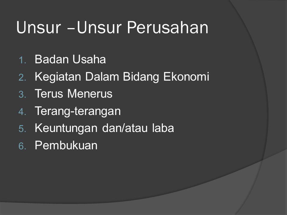 Unsur –Unsur Perusahan 1.Badan Usaha 2. Kegiatan Dalam Bidang Ekonomi 3.