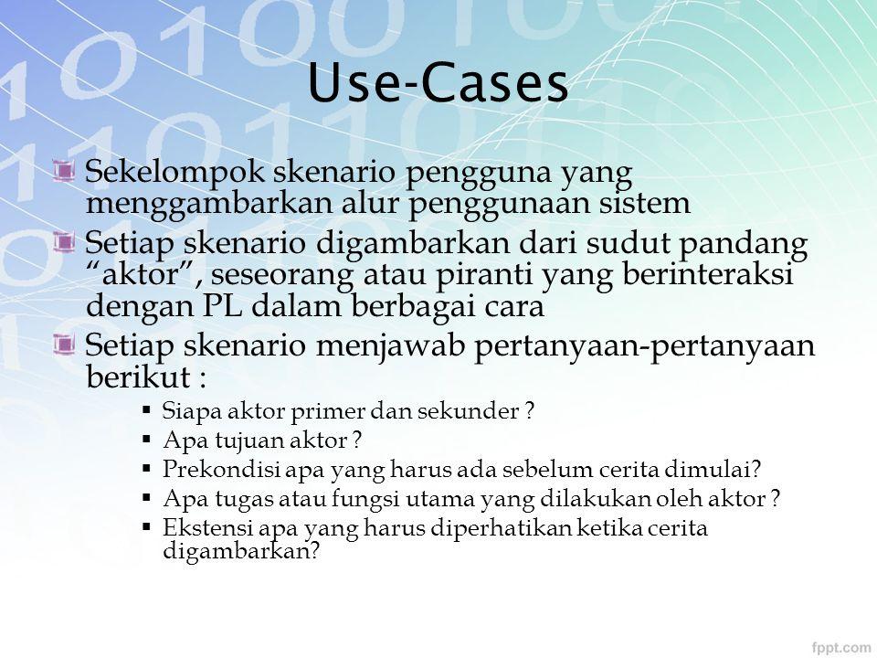 """Use-Cases Sekelompok skenario pengguna yang menggambarkan alur penggunaan sistem Setiap skenario digambarkan dari sudut pandang """"aktor"""", seseorang ata"""