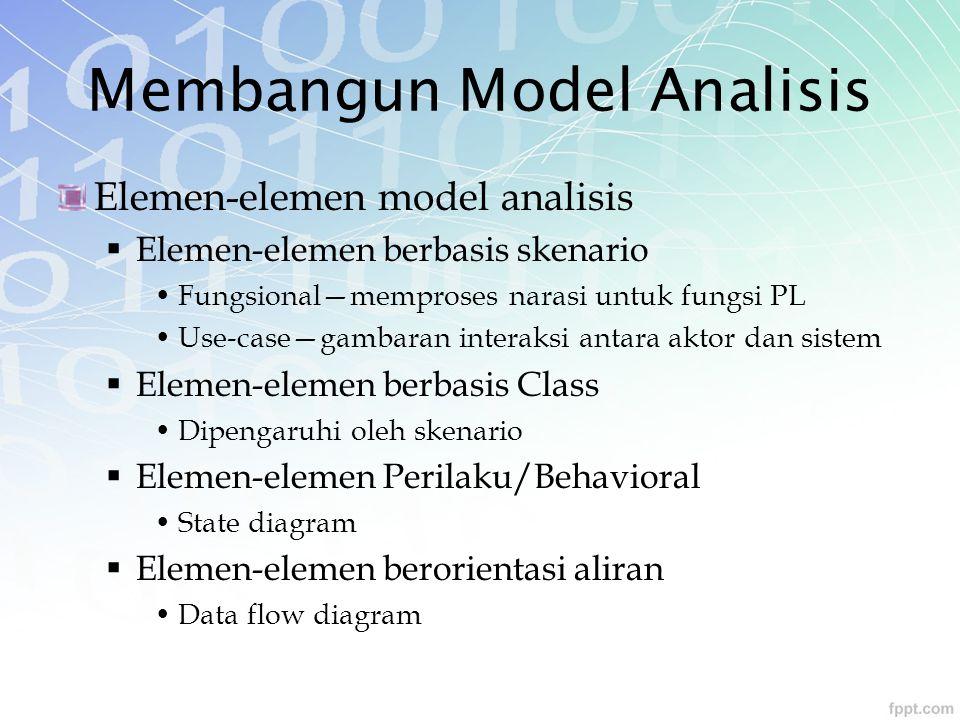 Membangun Model Analisis Elemen-elemen model analisis  Elemen-elemen berbasis skenario Fungsional—memproses narasi untuk fungsi PL Use-case—gambaran