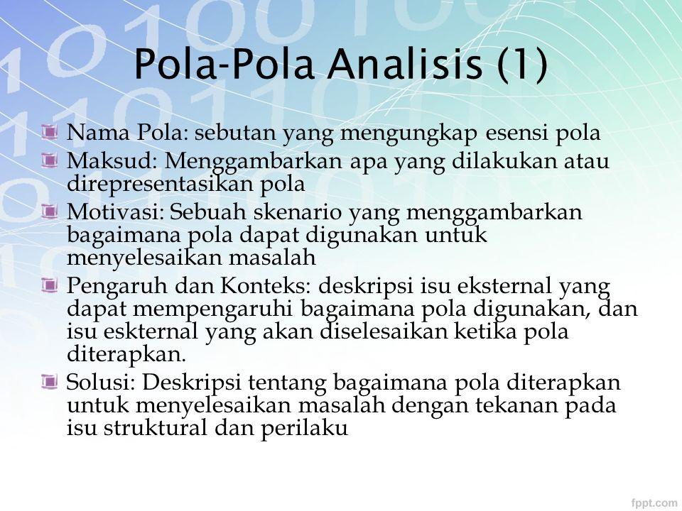 Pola-Pola Analisis (1) Nama Pola: sebutan yang mengungkap esensi pola Maksud: Menggambarkan apa yang dilakukan atau direpresentasikan pola Motivasi: S