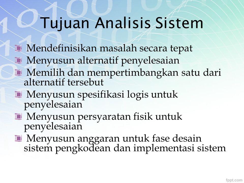 Tujuan Analisis Sistem Mendefinisikan masalah secara tepat Menyusun alternatif penyelesaian Memilih dan mempertimbangkan satu dari alternatif tersebut