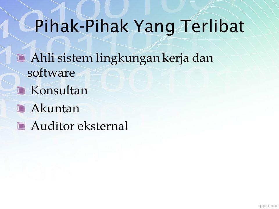 Pihak-Pihak Yang Terlibat Ahli sistem lingkungan kerja dan software Konsultan Akuntan Auditor eksternal
