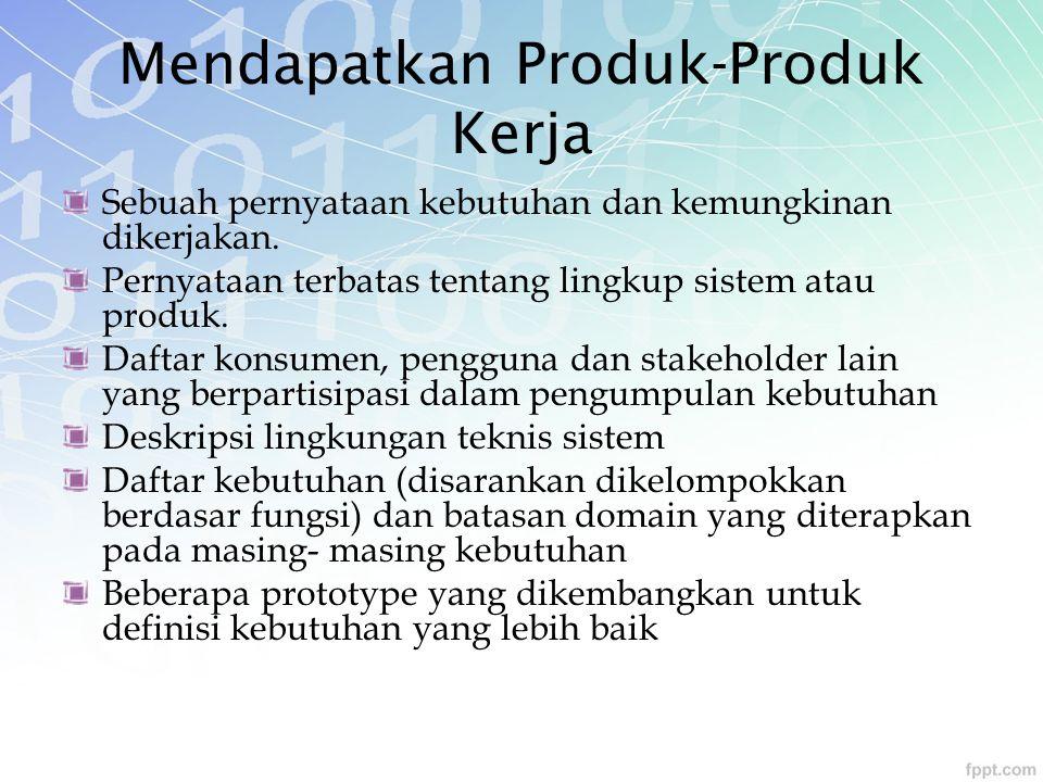 Mendapatkan Produk-Produk Kerja Sebuah pernyataan kebutuhan dan kemungkinan dikerjakan. Pernyataan terbatas tentang lingkup sistem atau produk. Daftar